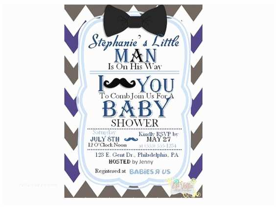 Bow Tie Baby Shower Invitations Mustache and Bow Tie Baby Shower Invitations