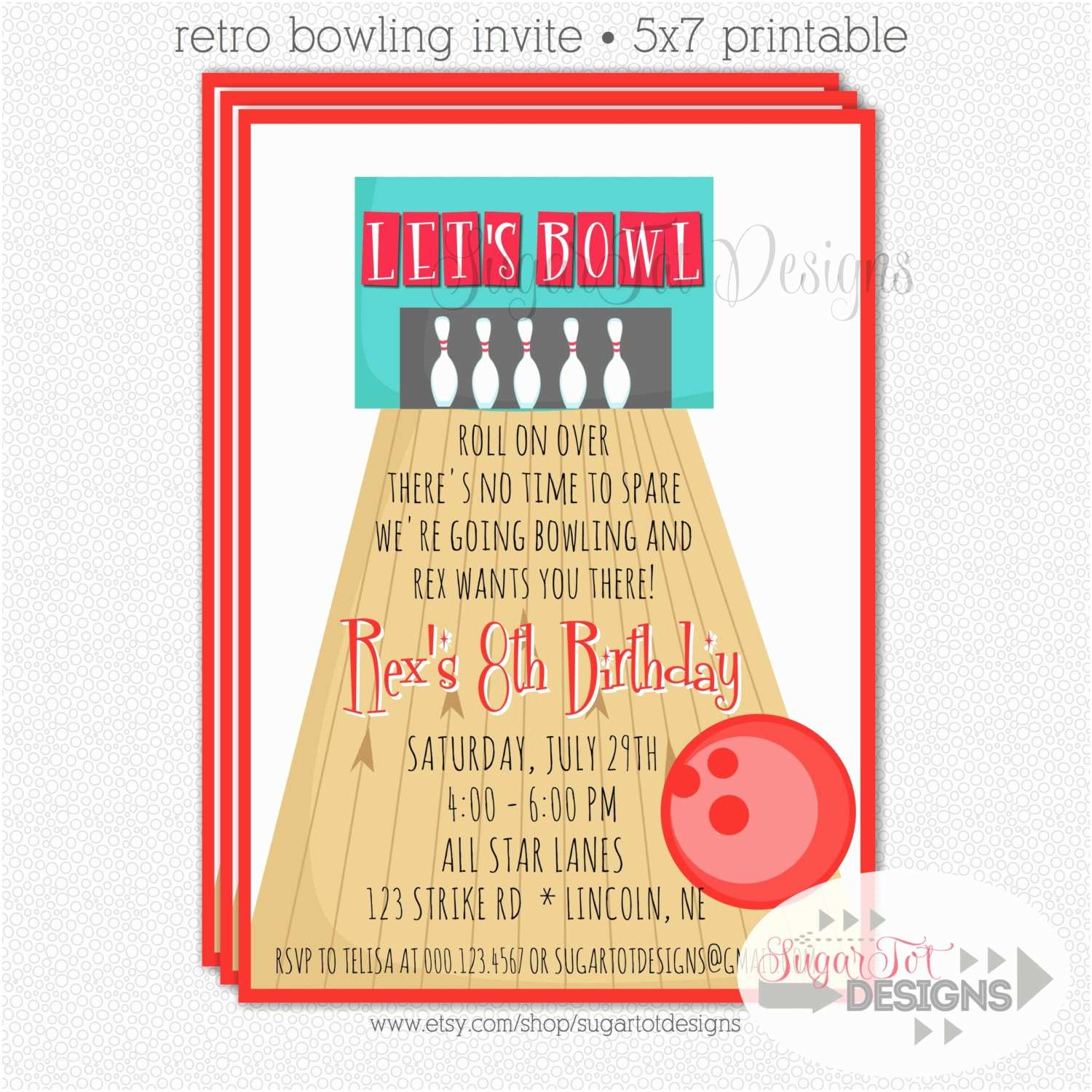 bowling party invitation retro bowling
