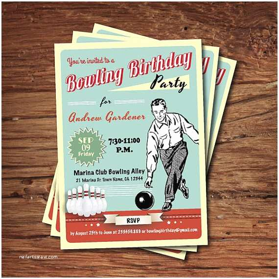 Bowling Birthday Invitations Man Bowling Birthday Party Invitation Retro Adult Birthday