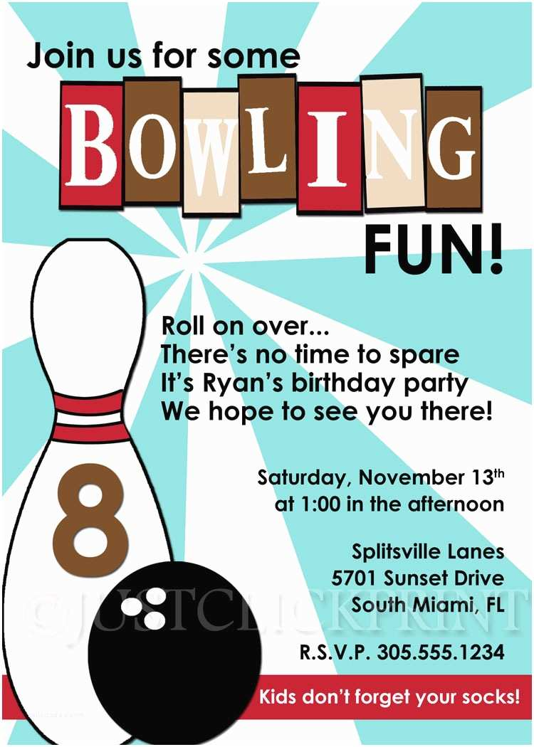 Bowling Birthday Invitations Bowling Party Invitations