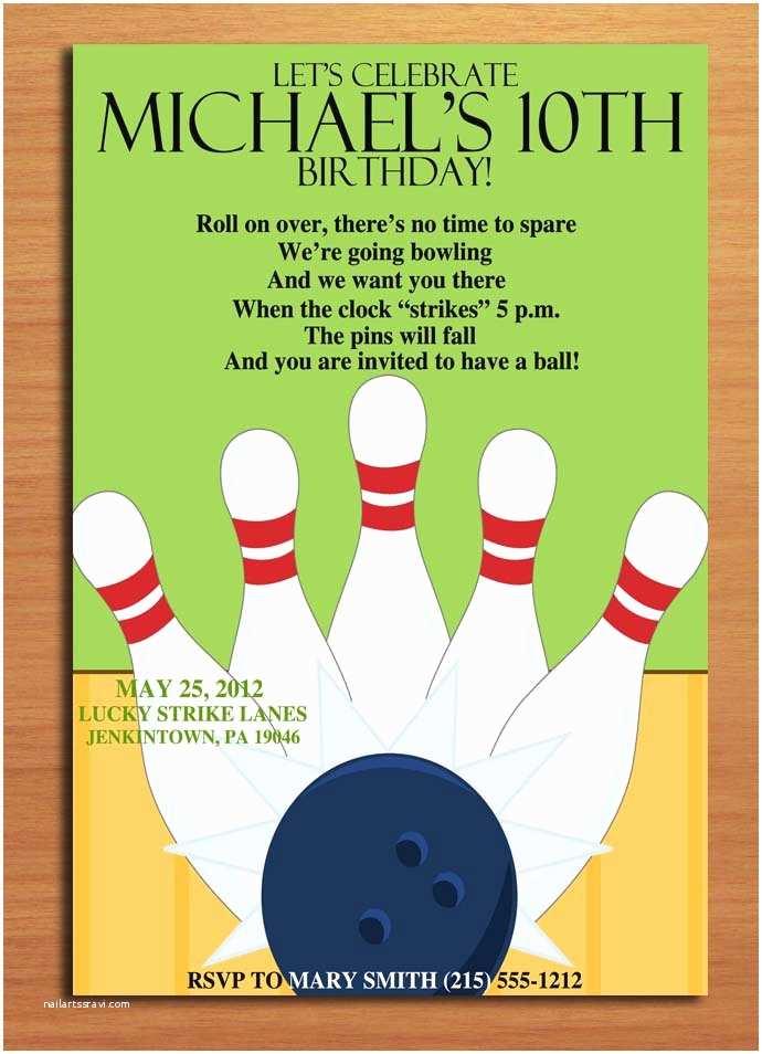 Bowling Birthday Party Invitations Birthday Invites Bowling Birthday Party Invitations Free