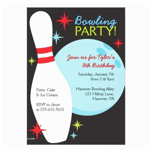 Bowling Birthday Party Invitations 5 X 7 Invitation Card