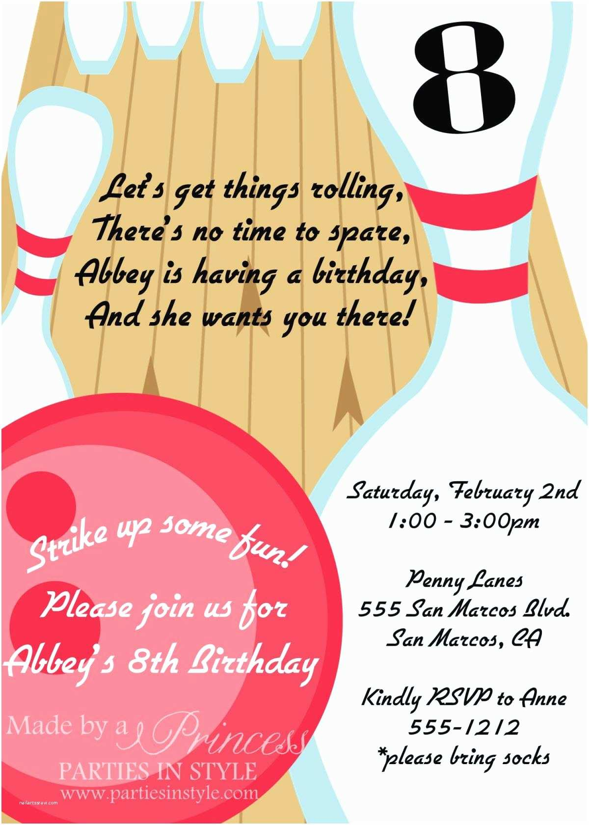 Bowling Birthday Party Invitations Bowling Birthday Party Printable Invitation Diy Pink