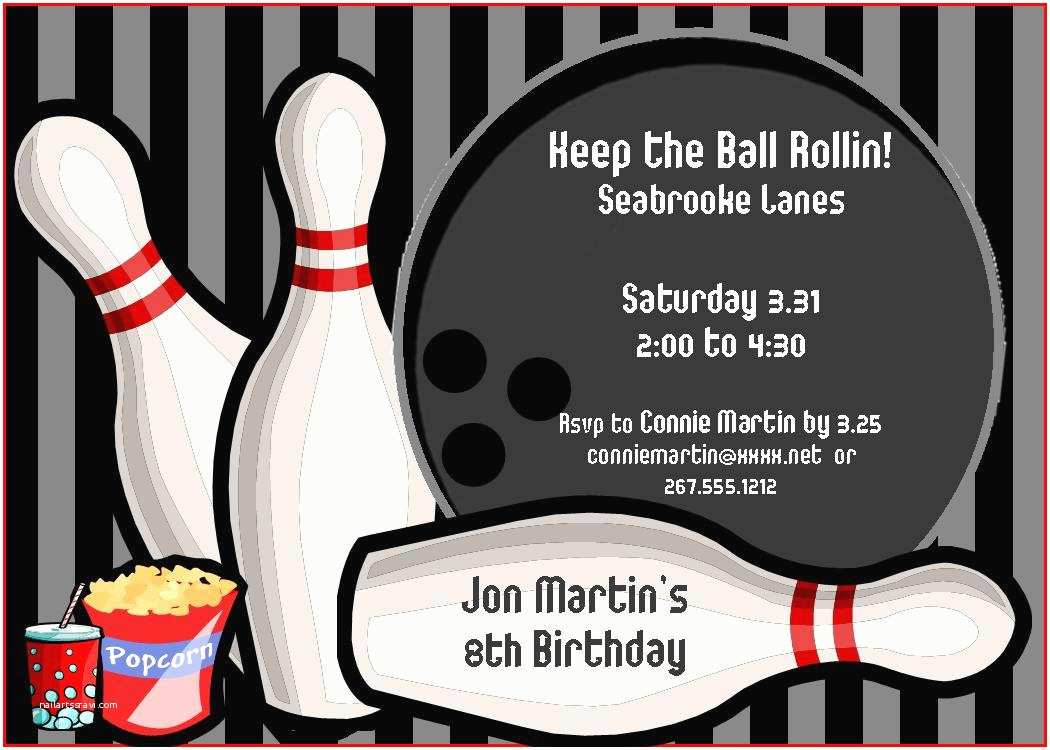 Bowling Birthday Party Invitations Templates Ideas