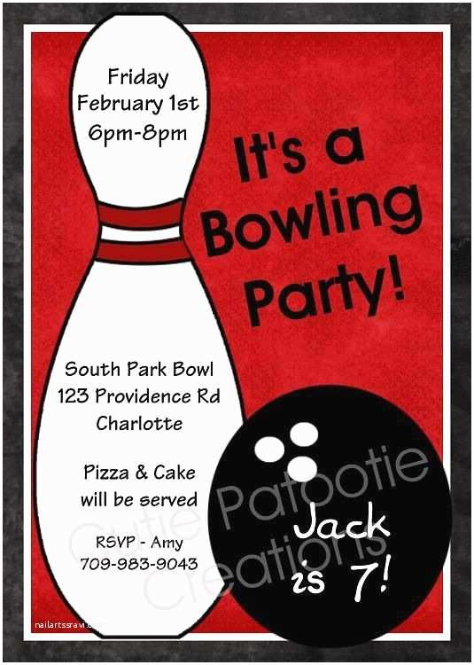 Bowling Birthday Party Invitations Invite Emma Party Pinterest