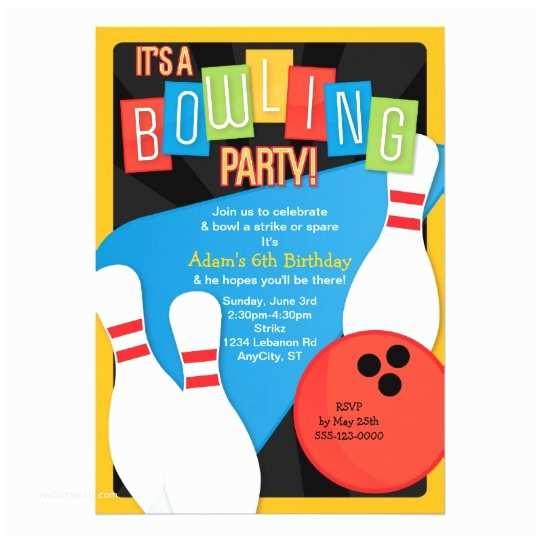 Bowling Birthday Party Invitations Retro Bowling Kid S Birthday Party Invitation