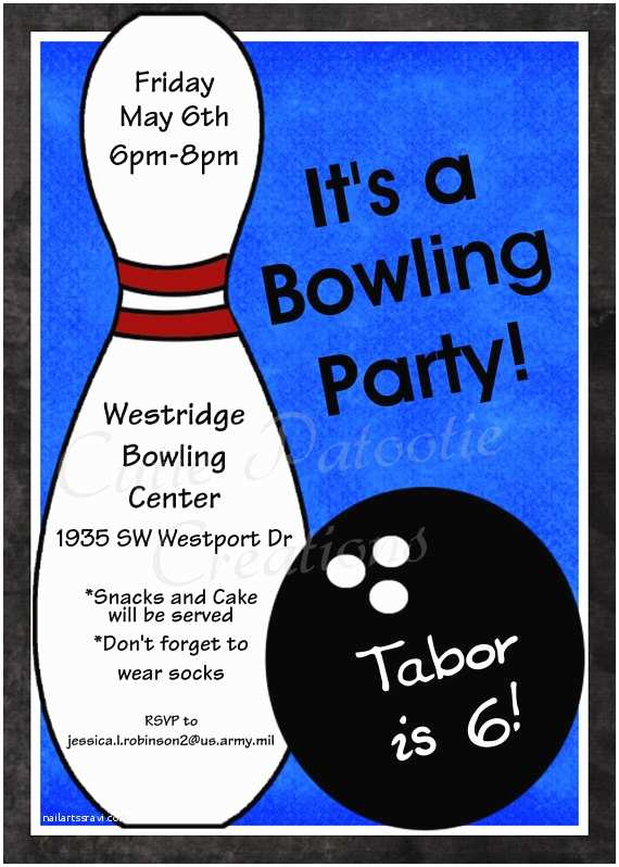 Bowling Party Invitations Bowling Birthday Invitation Printable or Printed Party