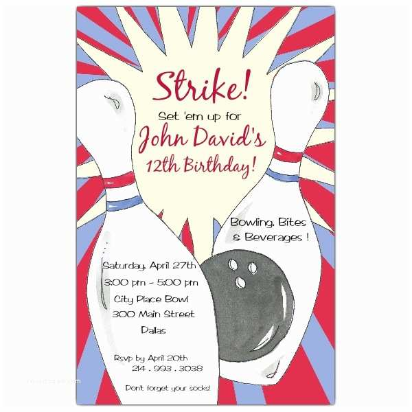 Bowling Party Invitations Bowling Birthday Party Invitations