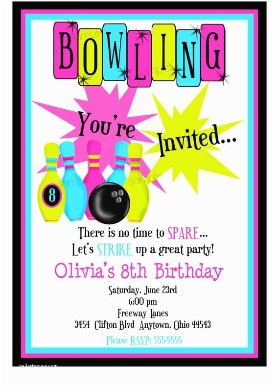 Bowling Party Invitations Bowling Invitations Bowling Birthday Party Cosmic