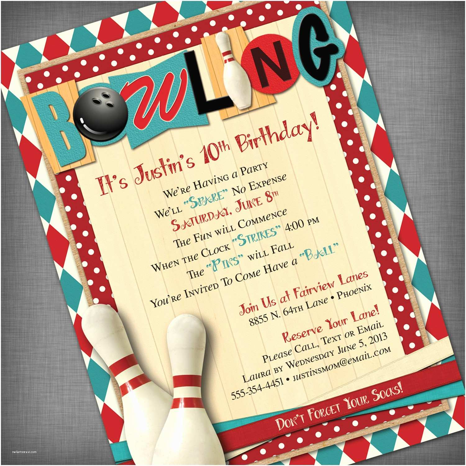 Bowling Party Invitations Bowling Party Customized Printable Invitation