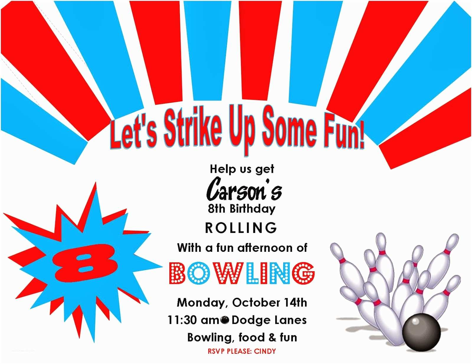 Bowling Party Invitations Crazylou Bowling Birthday Party