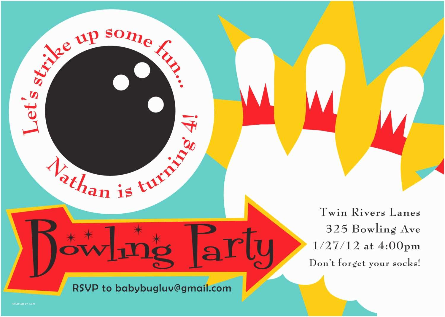 Bowling Party Invitations Diy Printable Bowling Party Invitation by Bugluv On Etsy