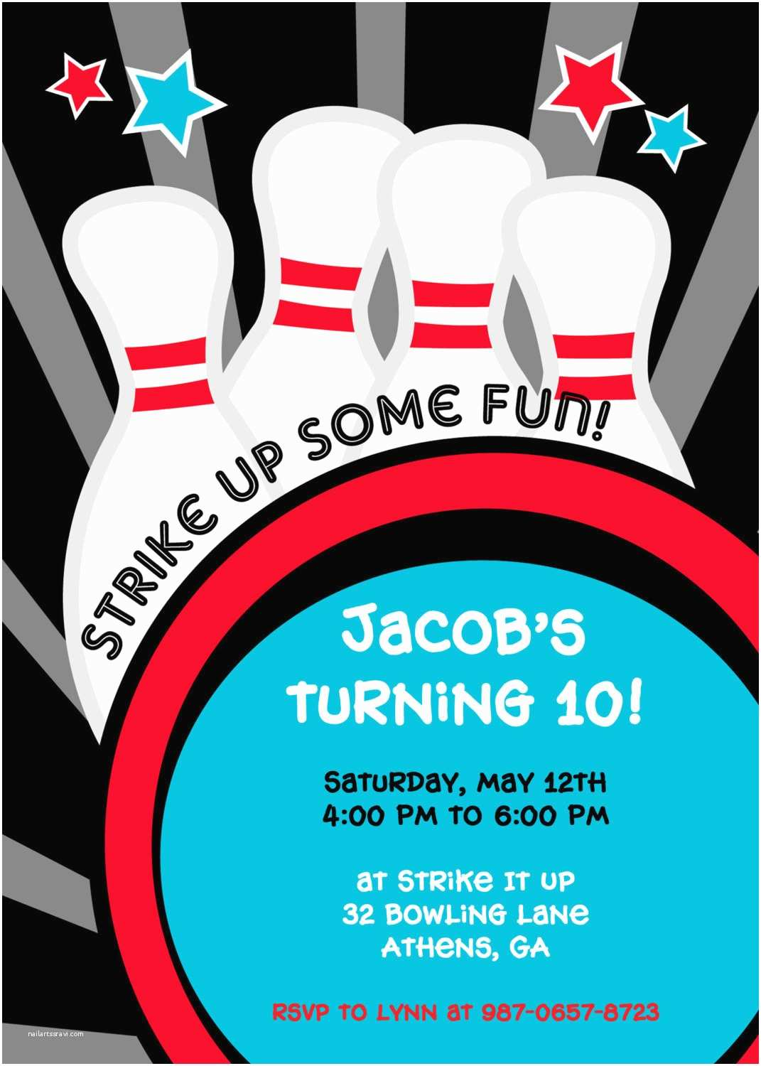 Bowling Party Invitations Strike It Up Bowling Party Invitation