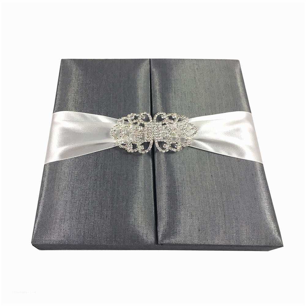 Boxed Wedding Invitations Hand Crafted Dark Grey Boxed Wedding Invitation with