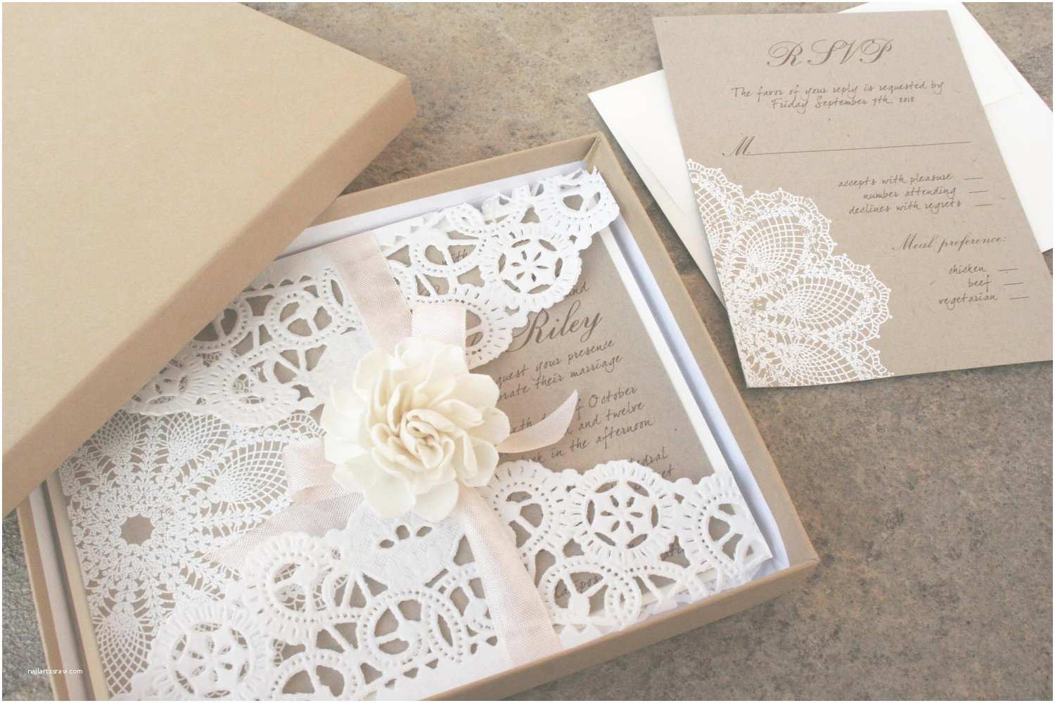 Boxed Wedding Invitations Lace and Kraft Paper Boxed Wedding Invitations