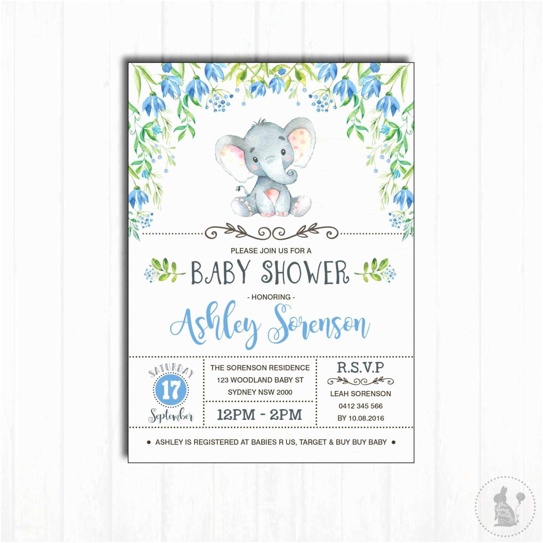 Boy Baby Shower Invitations Elephant Baby Shower Invitation Printable Baby Boy Woodland