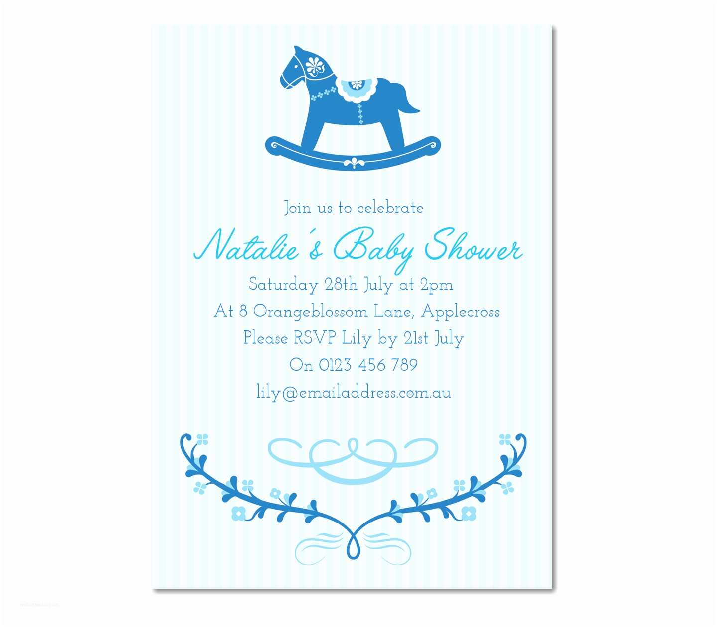 Boy Baby Shower Invitations Personalised Rocking Horse Baby Shower Invitation Baby Boy