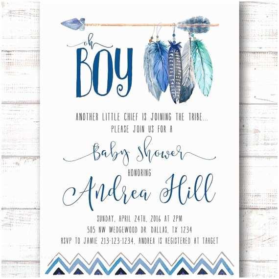 Boy Baby Shower Invitations Tee Pee Aztec Tribal southwest Baby Shower Invitation by