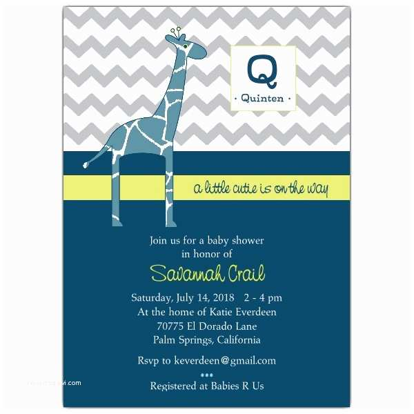 Boy Baby Shower Invites Modern Giraffe Baby Boy Shower Invitations