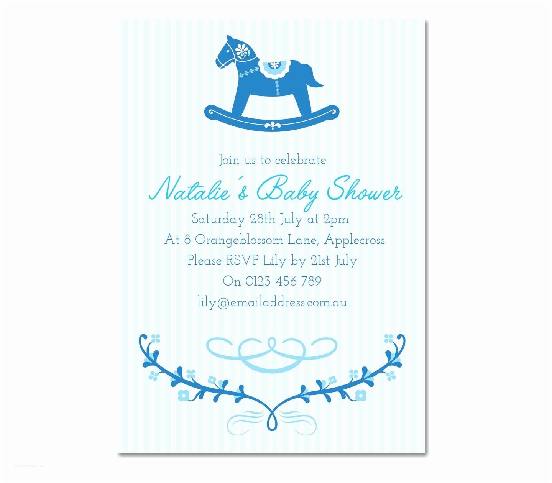 Boy Baby Shower Invites Personalised Rocking Horse Baby Shower Invitation Baby Boy