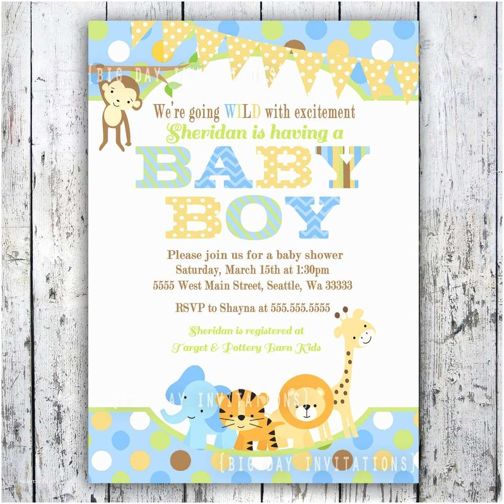 Boy Baby Shower Invites Safari Baby Shower Invitations Jungle Animal theme Printable