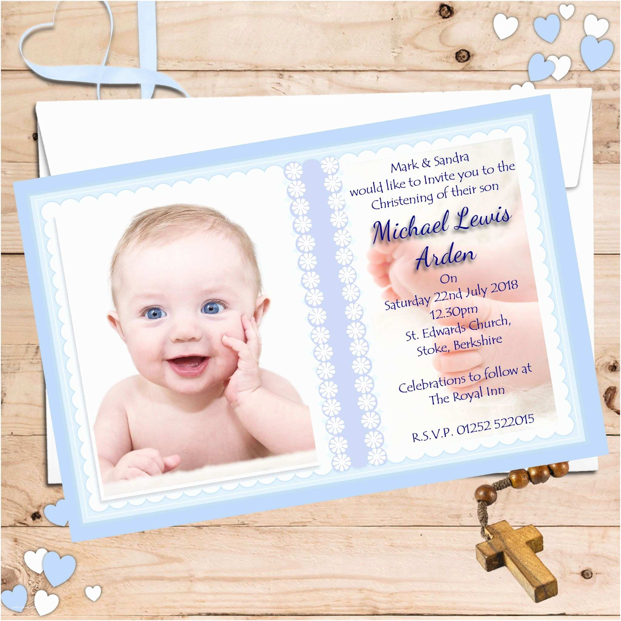 10 personalised boys christening baptism invitations photo invites n59 1819 p