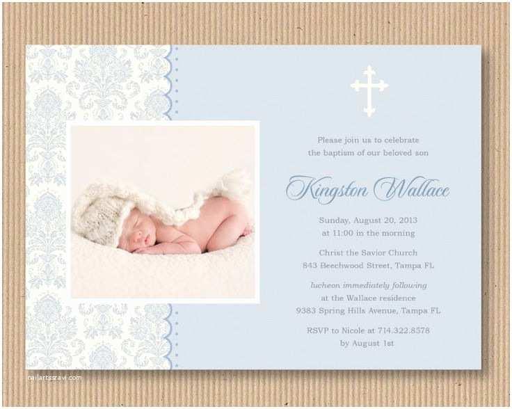 Boy Baptism Invitations Baby Boy Baptism or Dedication Invitation I by