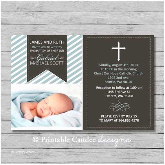 Boy Baptism Invitations Cross Boy Baptism or Christening Invitation Diy Custom