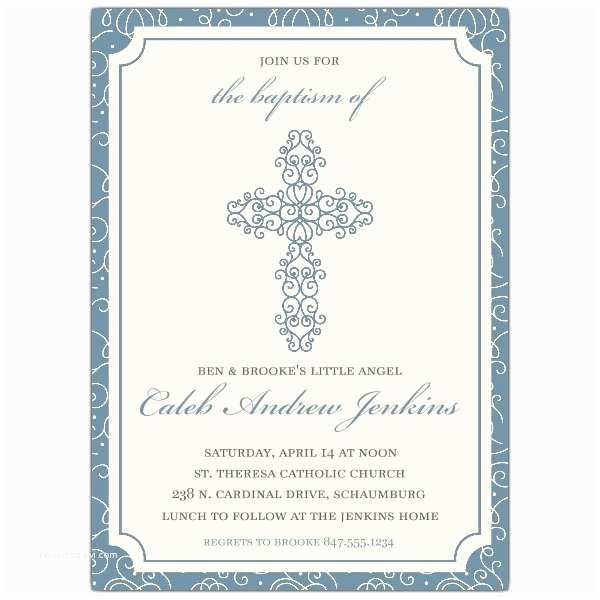 Boy Baptism Invitations Scrolled Cross Baby Boy Baptism Invitations