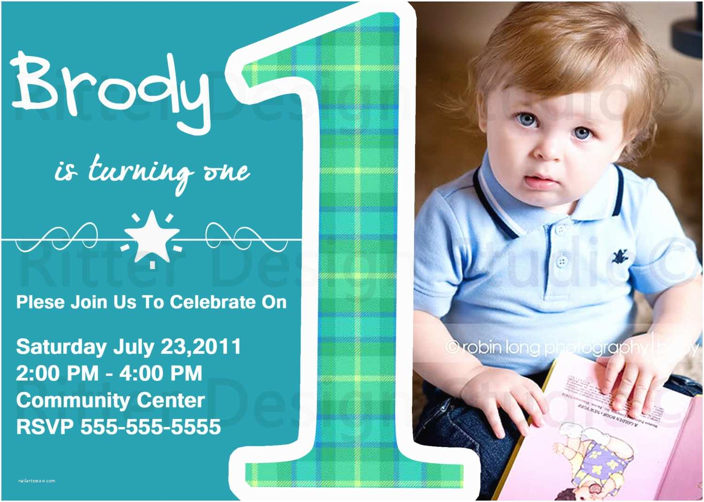 Boy Birthday Invitations Baby Boy First Birthday Party Invitation by Ritterdesignstudio