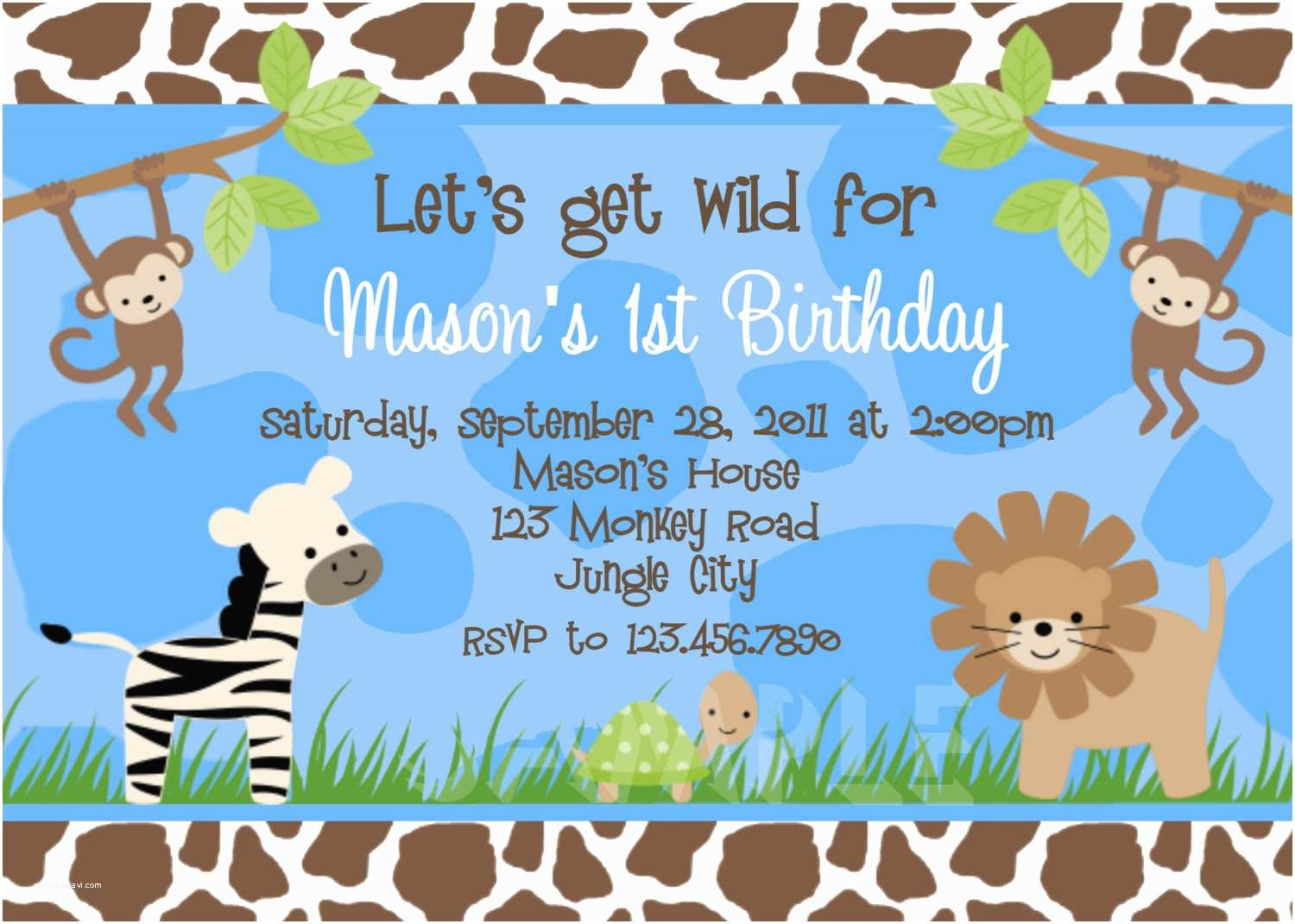 Boy Birthday Invitations Birthday Invitations Jungle 1st Party Invites Birthday