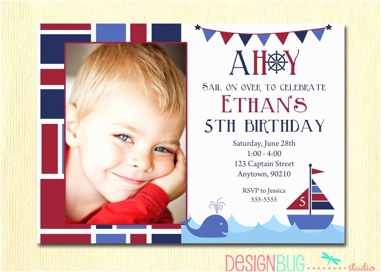 Boy Birthday Invitations Boys Nautical Birthday Invitation First Birthday 1st