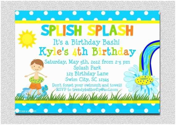 Boy Birthday Invitations Boys Pool Waterslide Birthday Invitation Waterslide