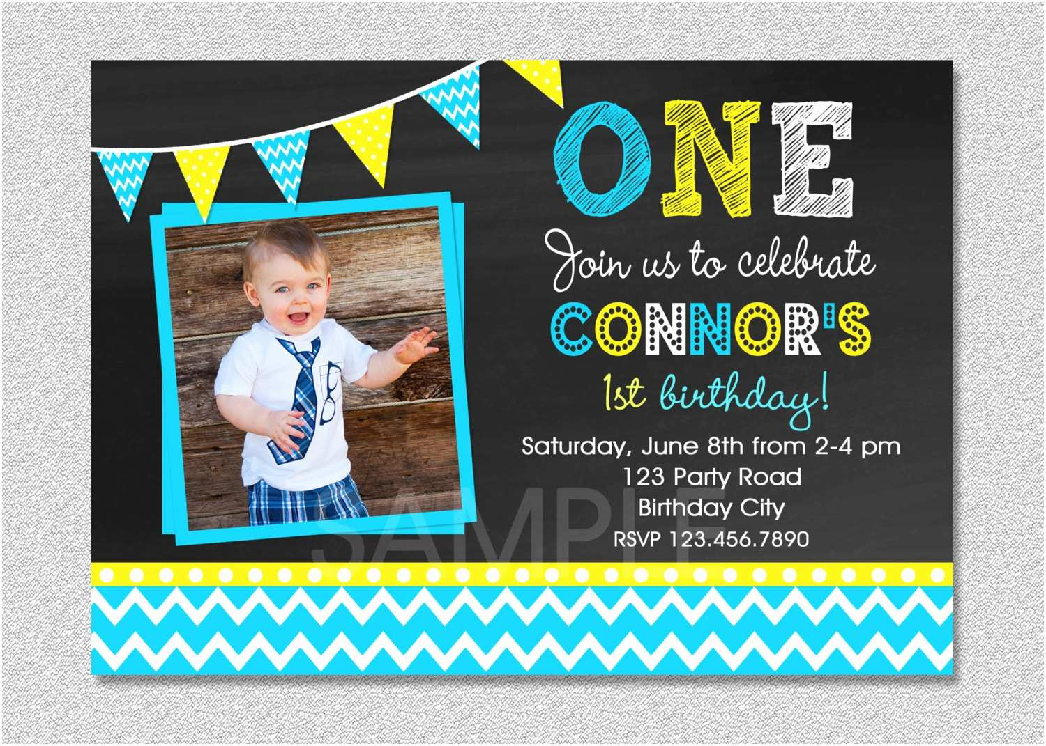 Boy Birthday Invitations Chalkboard Birthday Invitation Chevron Chalkboard Boys