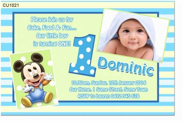 Boy Birthday Invitations Cu1021 Baby Mickey Mouse Birthday Invitation Boys