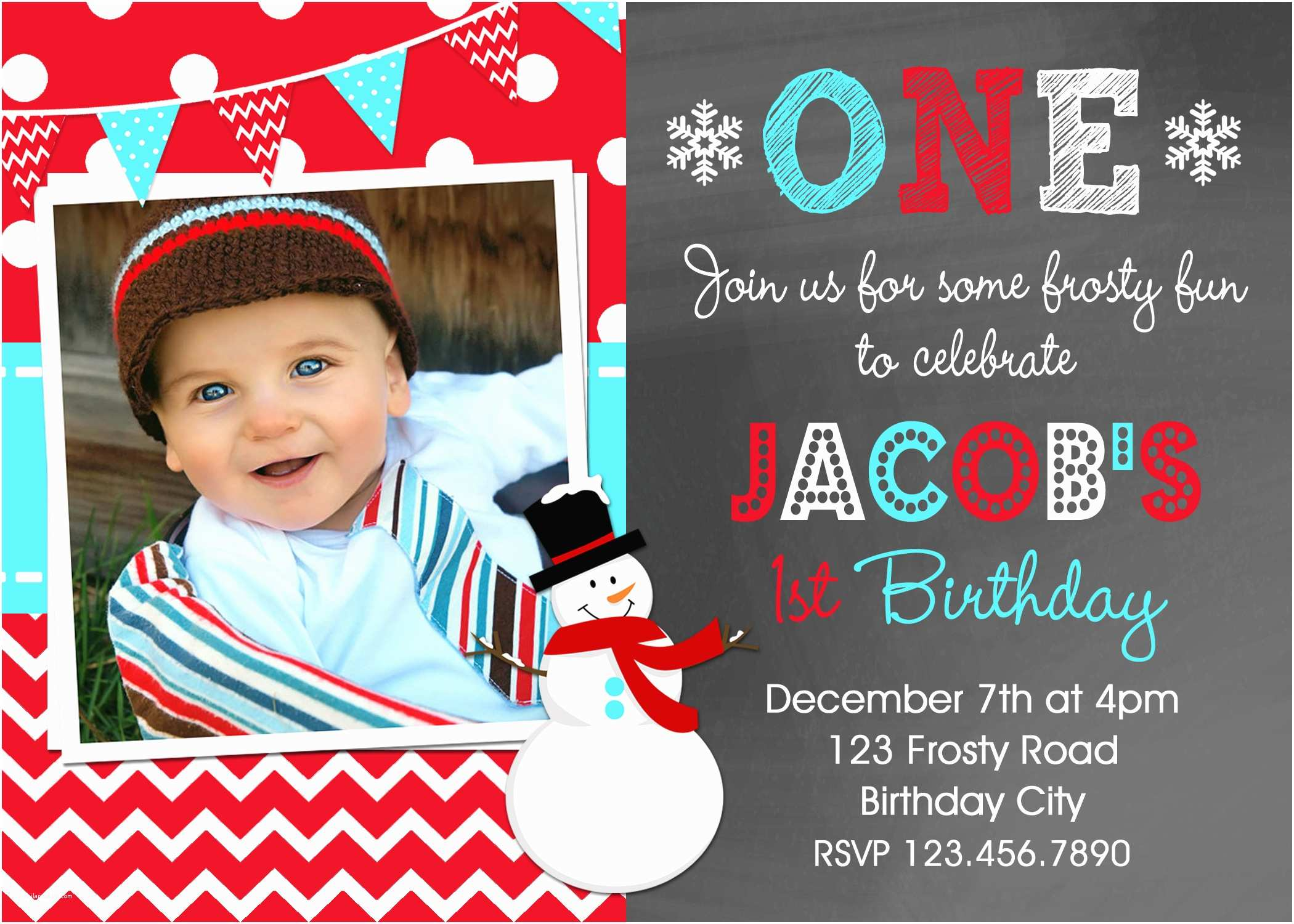 Boy Birthday Invitations Snowman Birthday Invitations Red Boys Winter Birthday