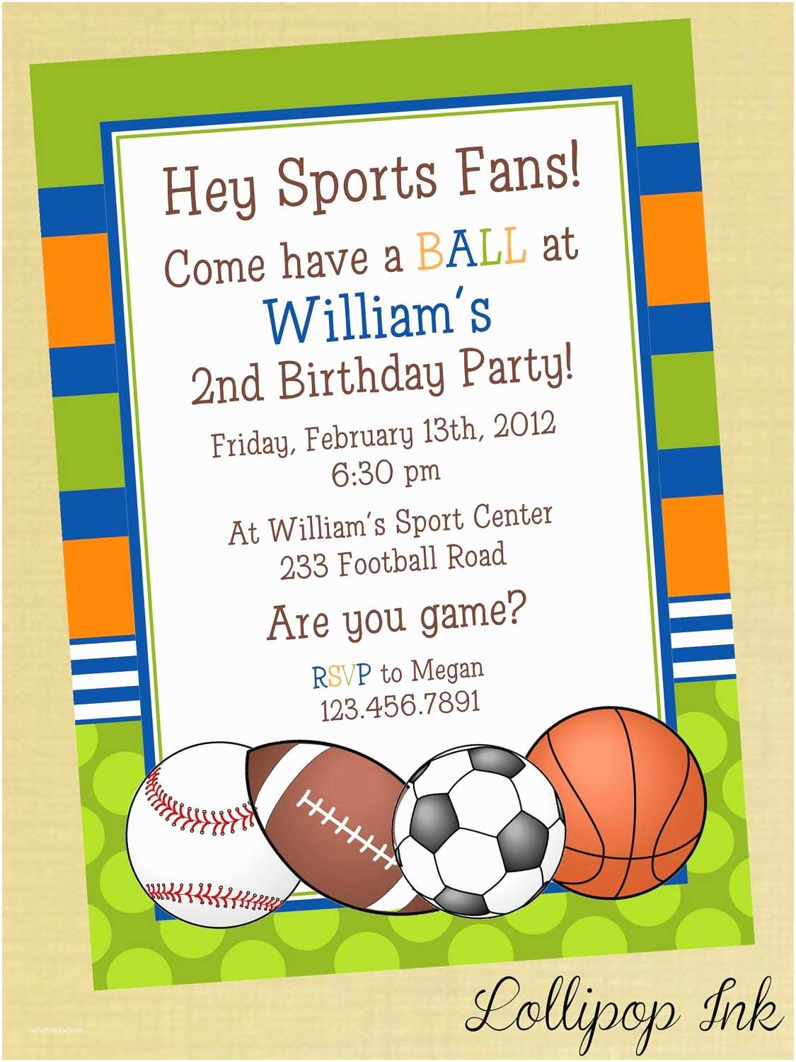 Boy Birthday Invitations Sports Printable Birthday Invitation Personalized Sports