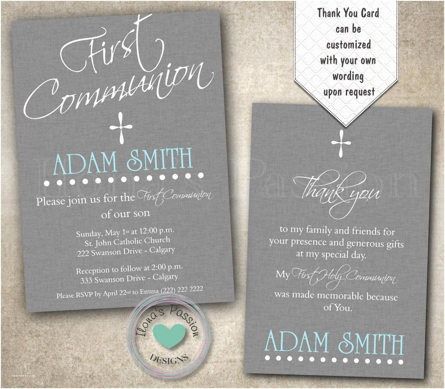 Boy Communion Invitations Boy First Munion Invitation Grey 1st Munion