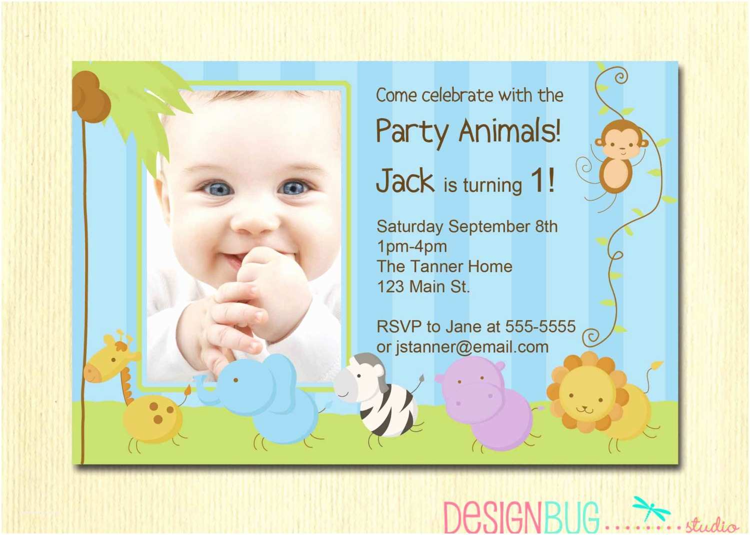 Boys Birthday Invitations First Birthday Boy Invitation Baby Jungle Safari Party
