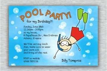 Boys Birthday Invitations Printable Boy Pool Party