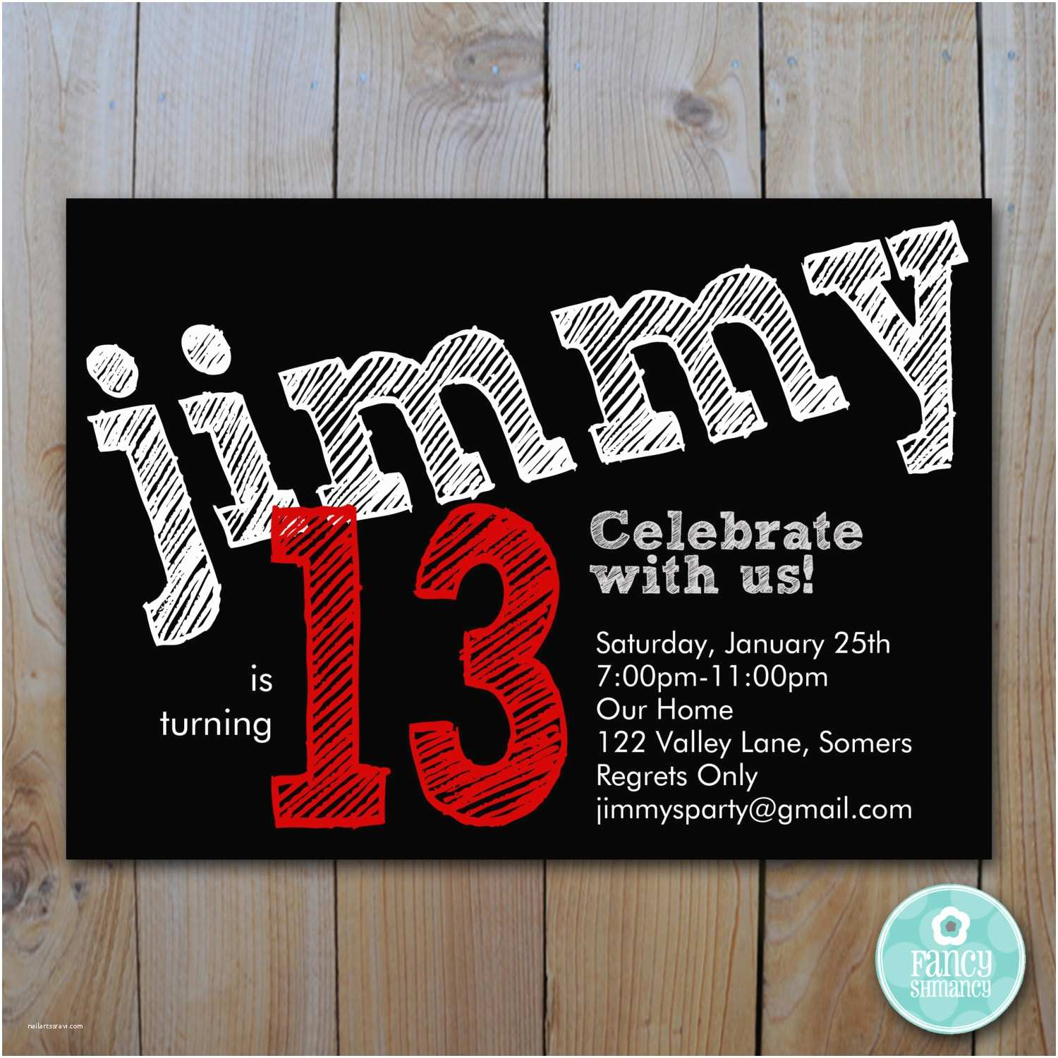Boys Birthday Invitations Teen Boy S Birthday Invitation Red Chalk Lettering