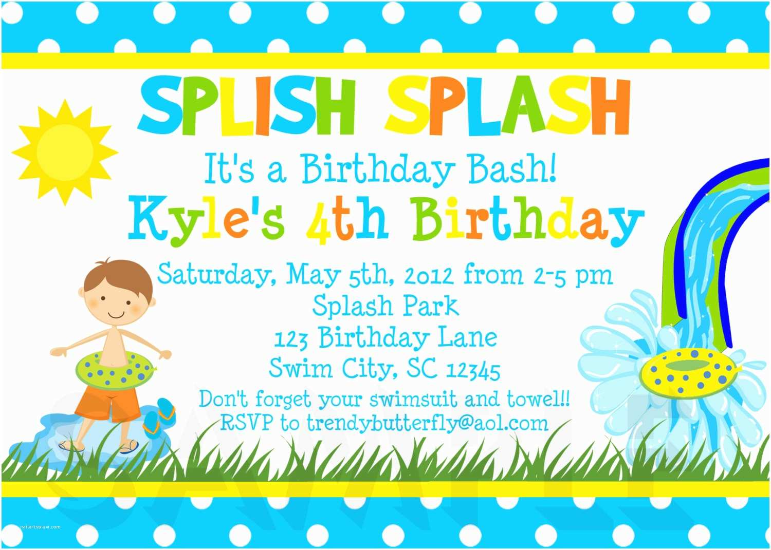 Boys Birthday Party Invitations Printable Summer Themed