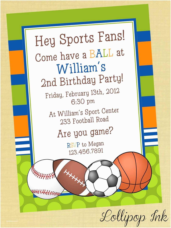 Boys Birthday Party Invitations Sports Printable Birthday Invitation Personalized Sports