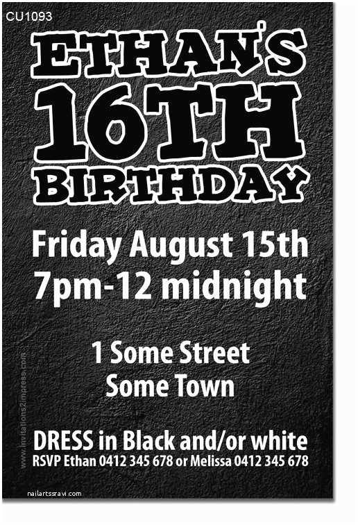 Boys Party Invitations Black and White Men S or Teenage Boys Birthday Invitation