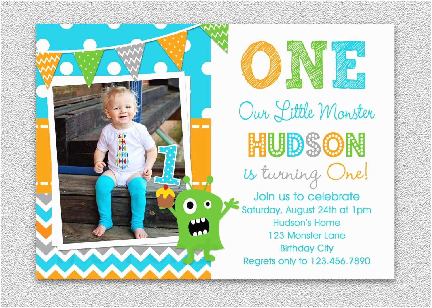 Boys Party Invitations Boys 1st Birthday Invitation Monster 1st Birthday Invitation