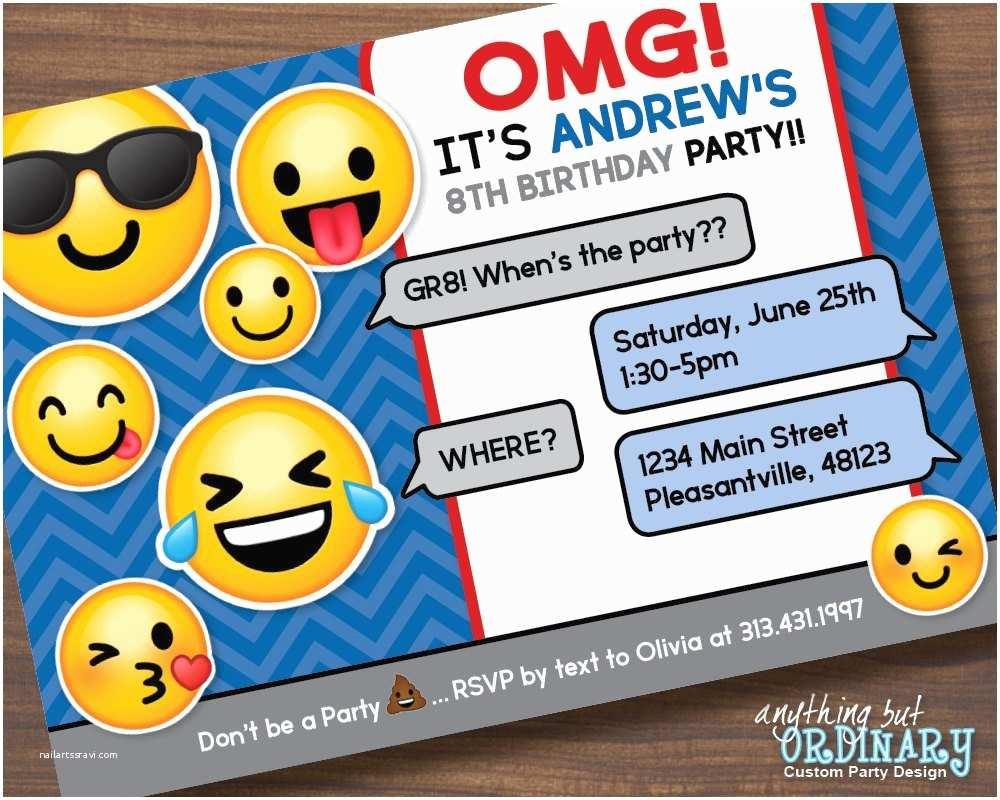 Boys Party Invitations Boys Emoji Invitation Printable Emoji Birthday Party