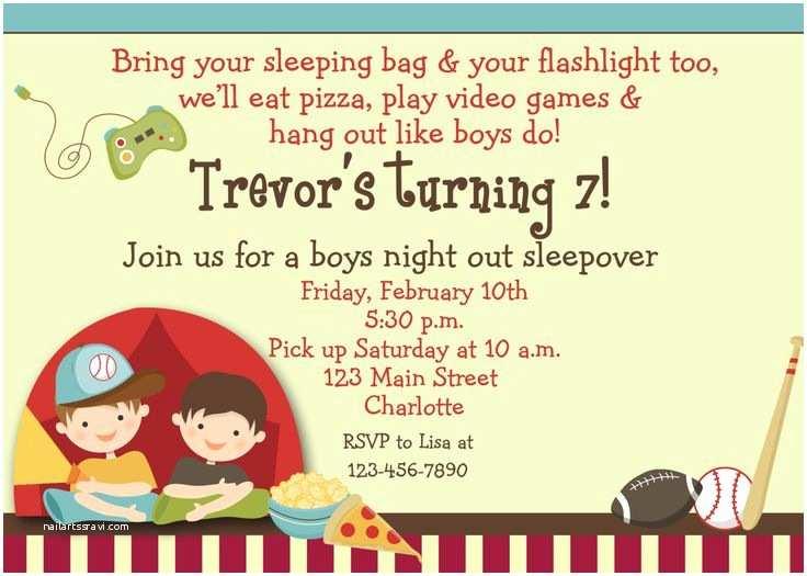 Boys Party Invitations Boys Sleepover Birthday Party Invitation Boys Campout