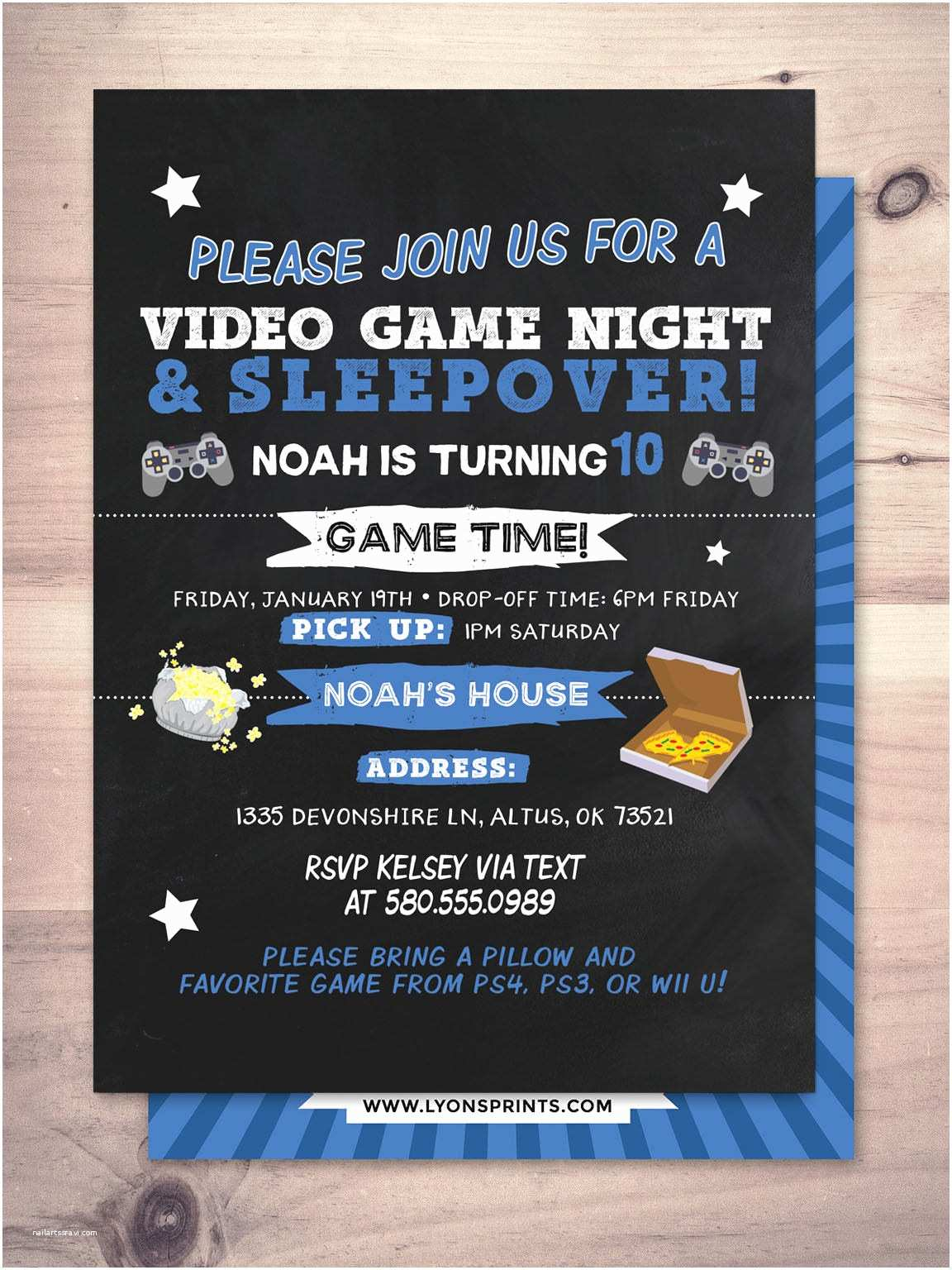 sleepover party invitation boy birthday