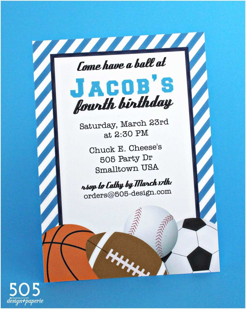 Boys Party Invitations Sports themed Baby Shower and Birthday Party Invitation