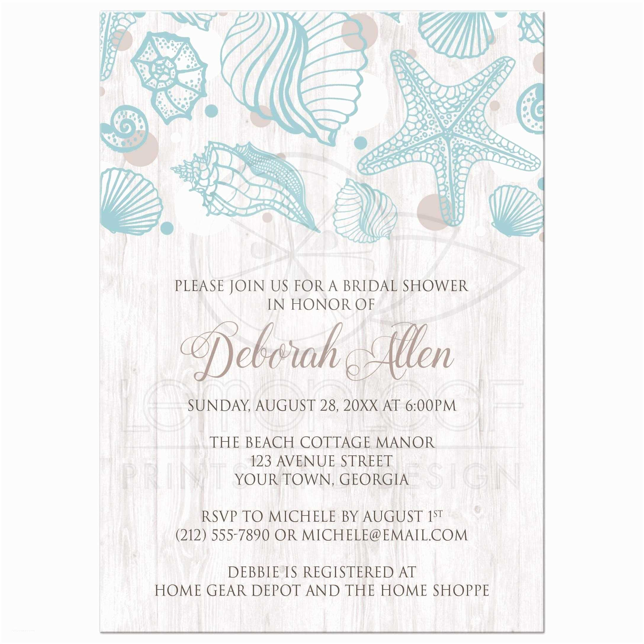 Bridal Party Invitations Beach Bridal Shower Invitations